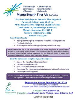 Mental Health First Aid for Parents/Caregivers